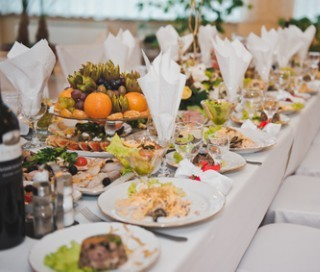 Festive table with food.